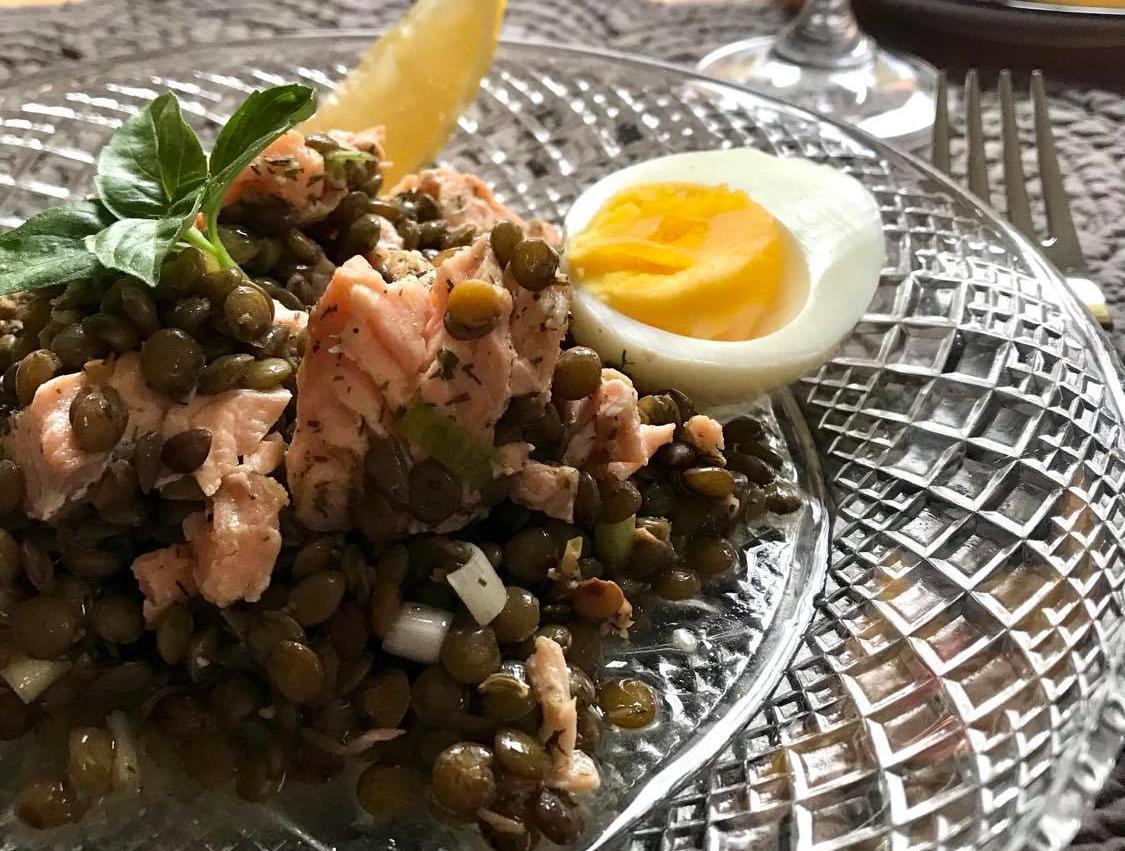 Salade de lentilles saumon citron