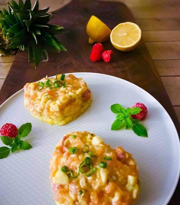Tartare saumon ananas basilic